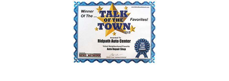 Talk of the town award winner auto repair