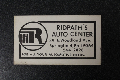 Ridpath's Automotive Old Business Card